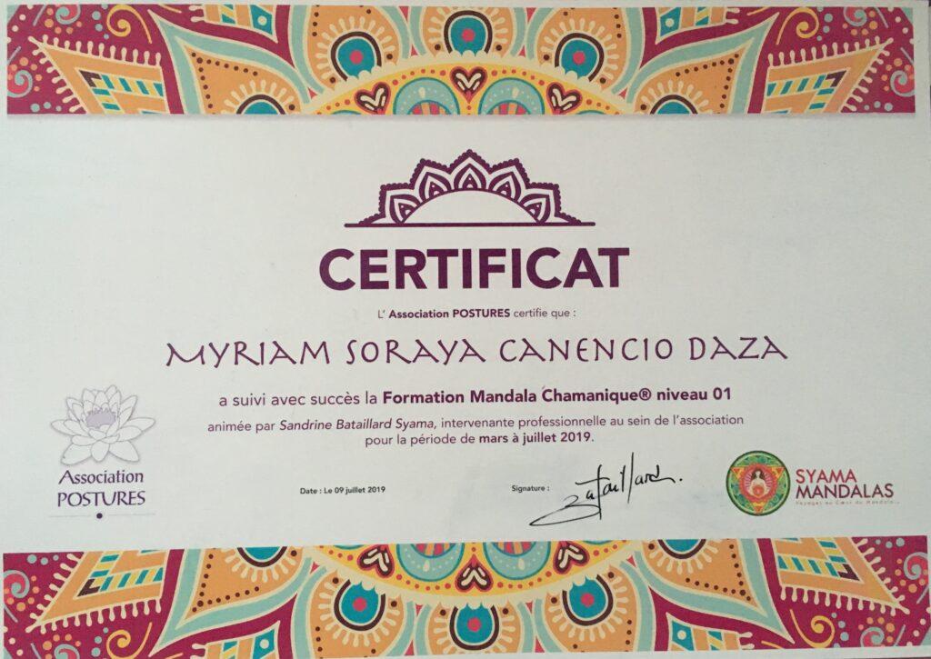 Certificado Formation Mandala Chamanique